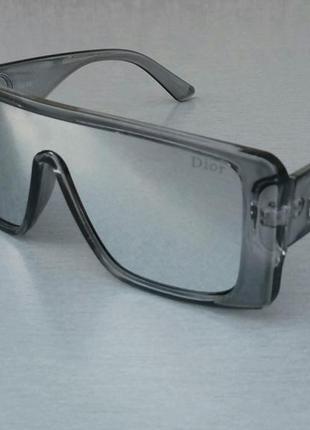 Christian dior очки маска женские солнцезащитные серые зеркальные металлик