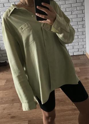 Рубашка фисташковая оливковая оверсайз oversize