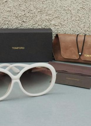 Tom ford очки женские солнцезащитные круглые цвет слоновой кости с градиентом