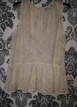 Блуза с баской беж пудра кружево летняя