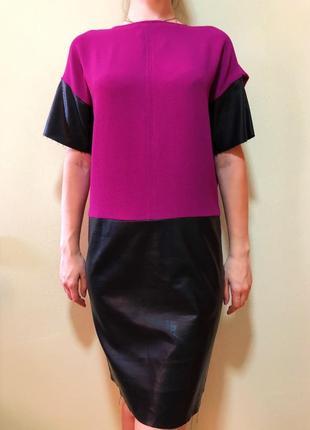 Платье сливного цвета, с кожаными вставками👗