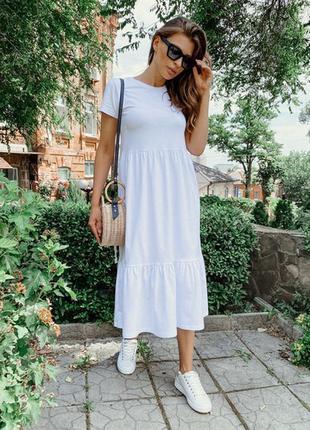 Хит❗ярусное платье-футболка длины миди, размеры 42-50