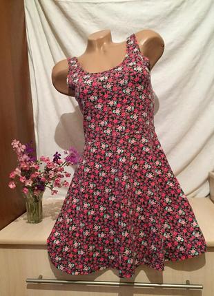 Милый короткий сарафан на бретельках / платье в цветочки