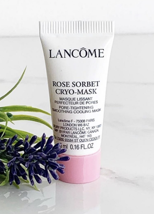 Крио-маска для кожи лица с эффектом охлаждения и сужения пор, lancome rose sorbet cryo
