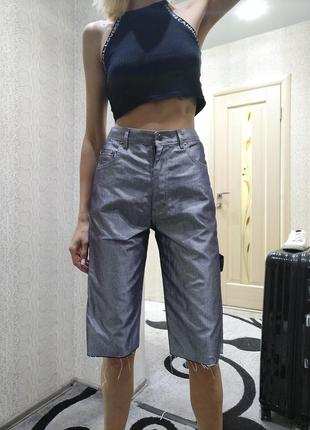 Металлик джинсовые шорты велосипедки бермуды
