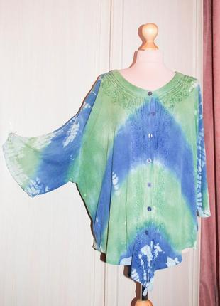 Жатая  блуза рубашка на лето батал большой размер хлопок оверсайз на пуговицах