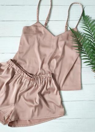 Шелковая пижама пудрового цвета