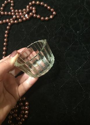 Красивая стеклянная старая советская солонка стекло ссср