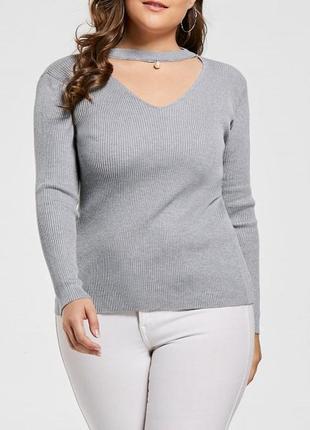 Серый джемпер кофточка реглан с длинным рукавом чокером на шее стрейч батал вырез декольте