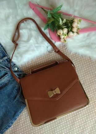 Стильна сумочка коричневий колір з короткою, довгою ручкою сумка на плече atmosphere