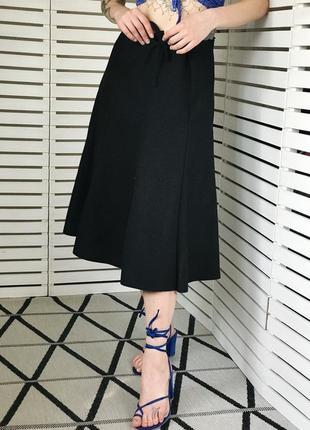 Винтажноая черная миди юбка трапеция