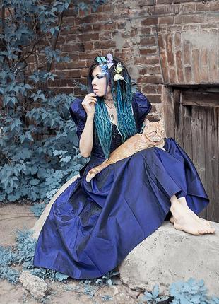 Винтажное платье alfred angelo из сине-фиолетовой тафты, для фотосессии