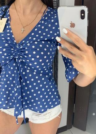 👚великолепная синяя блузка в горох/блуза с рюшами/блузка со стяжкой на груди👚