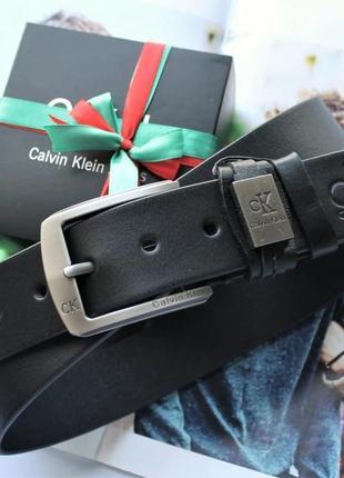 Мужской кожаный ремень calvin klein в коробке