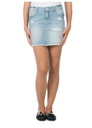 Милая джинсовая юбка в горох, потертости, colin's