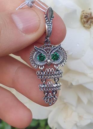 Кулон в виде совы из серебра