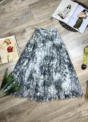 Next трендовая плиссированная миди юбка в красивый принт 🔥