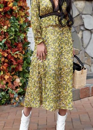 Шифоновое цветочное платье