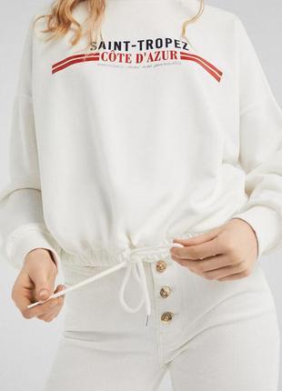 Худи,свитшот укороченный белый с надписью и шнурком на поясе