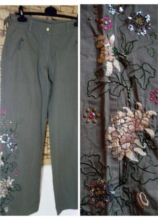 Женские коттоновые брюки с вышивкой