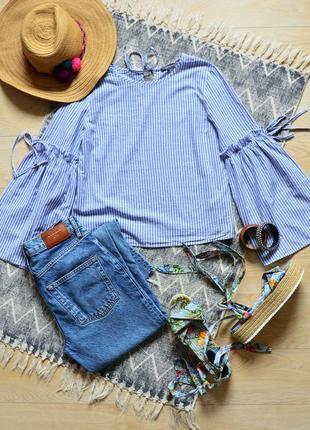 Блуза в полоску с обьемными рукавами на завязках primark