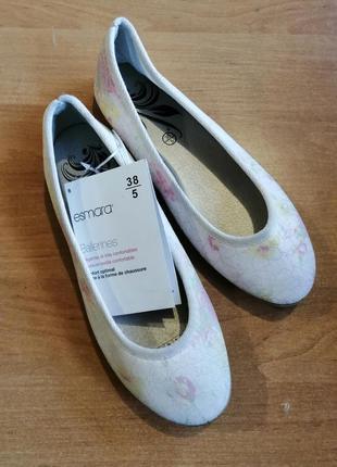 Женские туфли балетки esmara