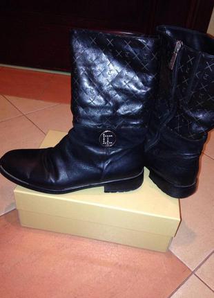 Кожаные ботинки сапоги на натуральном меху luigi traini (итальянский бренд) на зиму/осень/весну