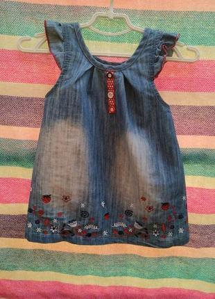 Летний джинсовый сарафан, турция, 9-12-18мес