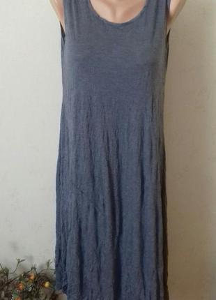 Длинное летнее легкое серое платье