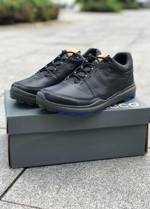 Мужские кожаные кроссовки ecco golf biom hybrid 3 gtx black/bermuda blue