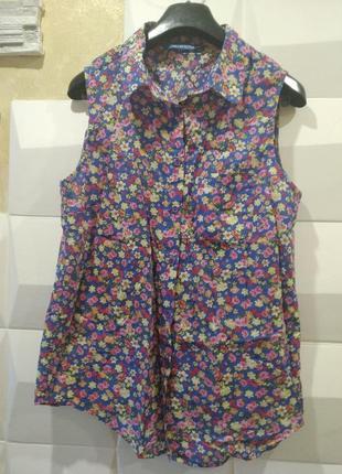 Блузка рубашка женская в цветочный принт блуза безрукавка