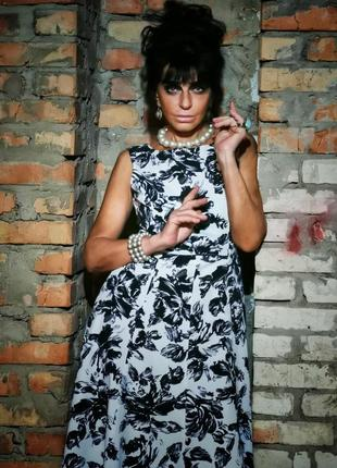 Винтажное платье в принт цветы миди расклешенное винтаж ретро laura ashley коттон хлопок