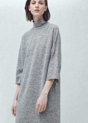 Меланжевое платье длины миди с высоким воротом 3/4 рукавами