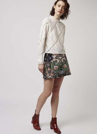 Жаккардовая,гобеленовая мини юбка topshop а- силуэт, цветочный принт