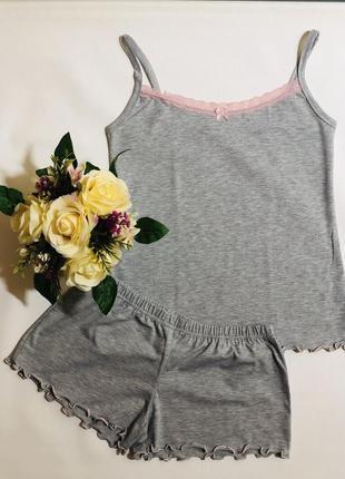 Женская трикотажная пижама, майка и шорты