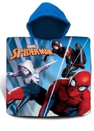Пляжное полотенце-пончо с капюшоном спайдермен (человек паук) для мальчика 3-7 лет