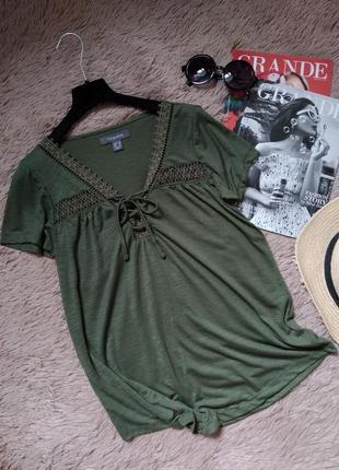 Эффектная футболка с кружевом на шнуровке/блузка/блуза/кофточка