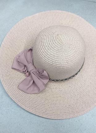 Шляпа пляжная летняя соломенная