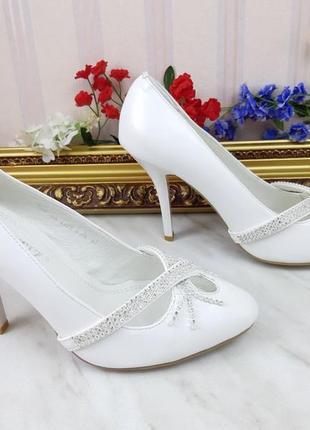 Свадебные туфли белые эко-кожа