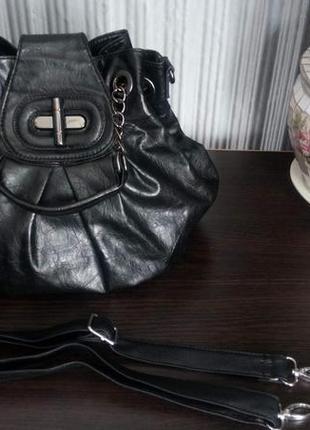 Кожаная сумка- мешок