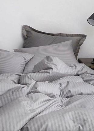 Комплект постельного  белья страйп сатин (100% хлопок) полоска 1х1, цвета разные
