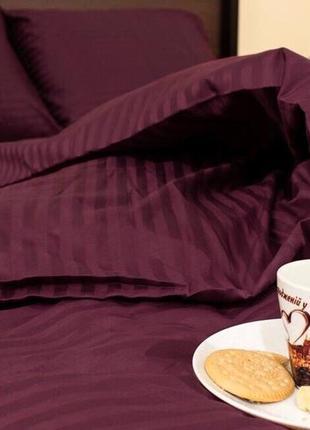 Комплект постельного  белья страйп сатин (100% хлопок) полоска 1х1