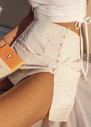 Летняя мини юбка принт с вырезом высокая талия ромашки цветочный