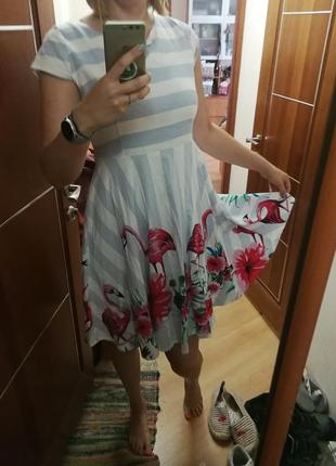 Платье летнее с фламинго