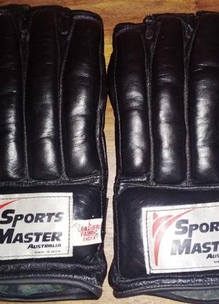 Кожаные перчатки без пальцев sports master, боевые искусства