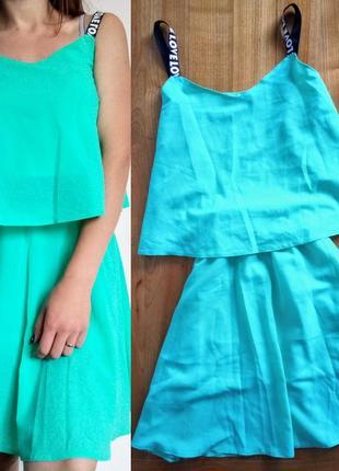 Комплект/ топ+ юбка/ костюм/ платье/ шифон/ мятный/ блуза/ майка