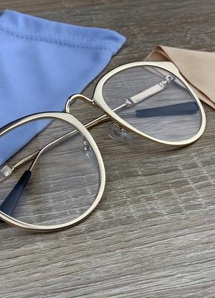 Женские компьютерные, имиджевые очки в золотой оправе