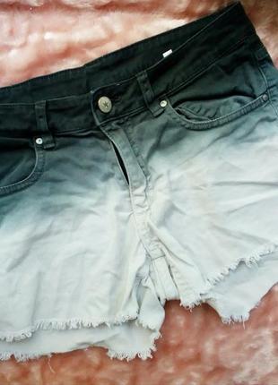 Короткие шорты градиент омбре рваные джинсовые деним