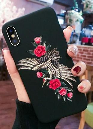 Мягкий силиконовый чехол на samsung а50 самсунг а 50 с розами и птицей