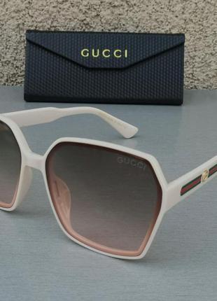 Gucci очки большие женские солнцезащитные коричневые с градиентом